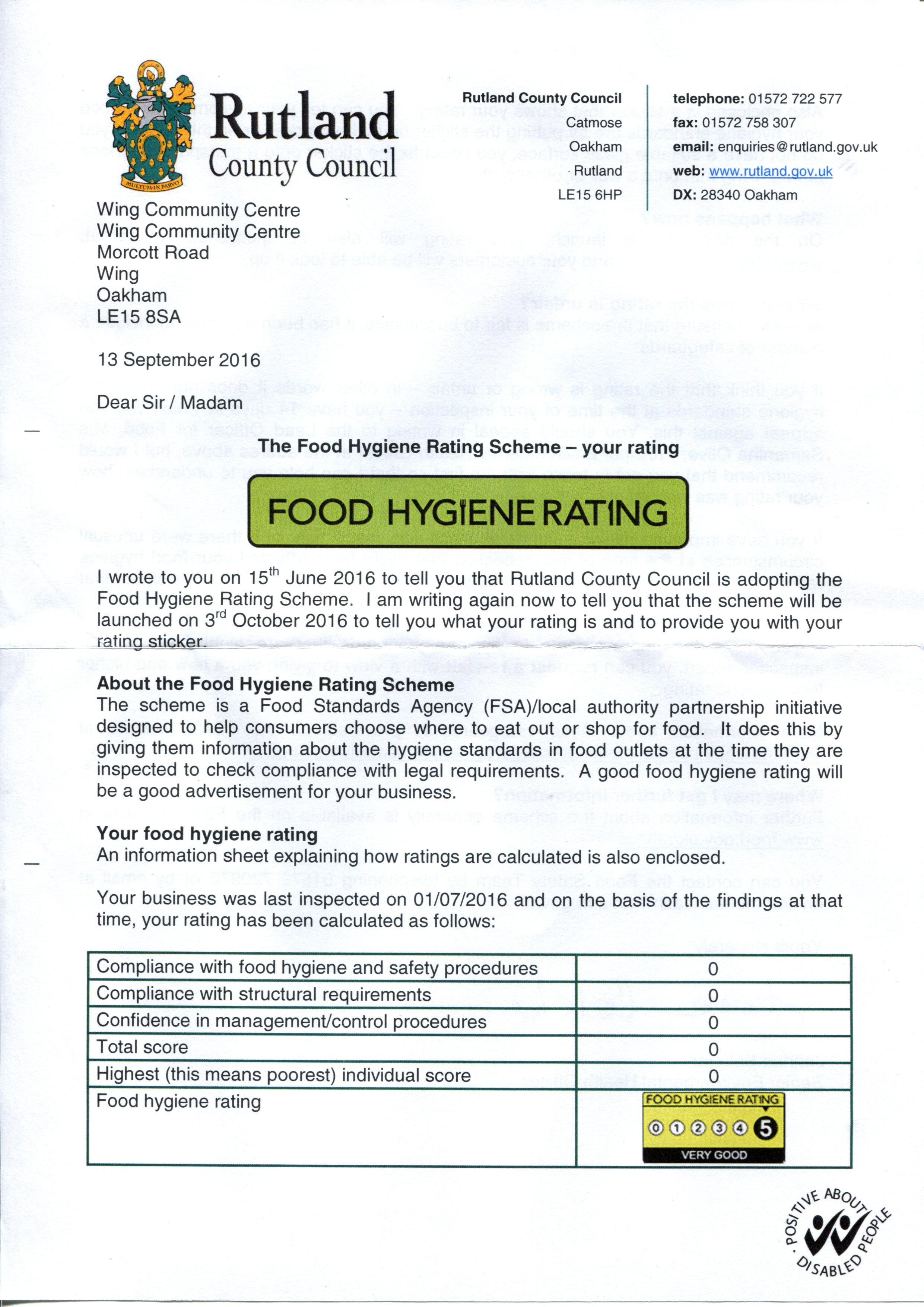 Village Hall Food Hygiene Inspection Reports Wing Community