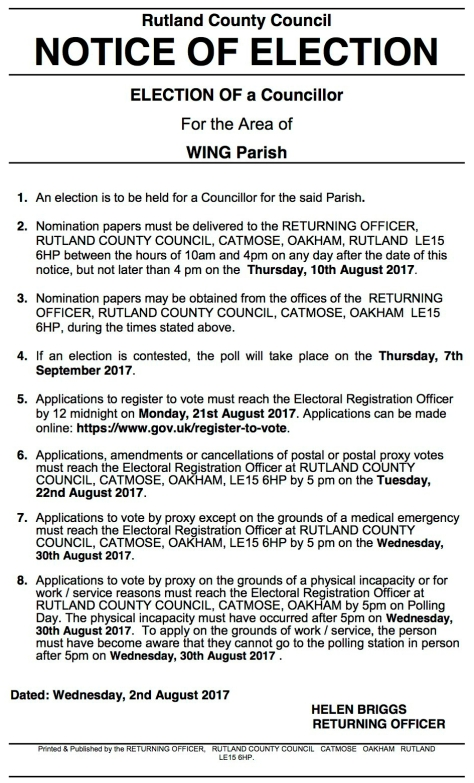 Notice of Election - Wing 2017